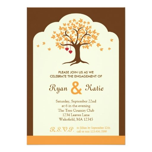 Fall Tree Engagement Party Invitation
