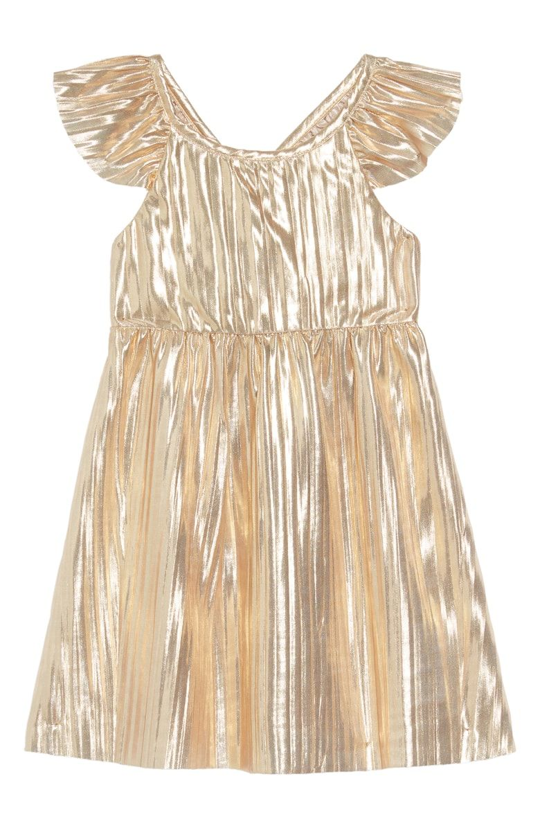 b4573265fe3 Free shipping and returns on crewcuts by J.Crew Maia Metallic Flutter  Sleeve Dress (