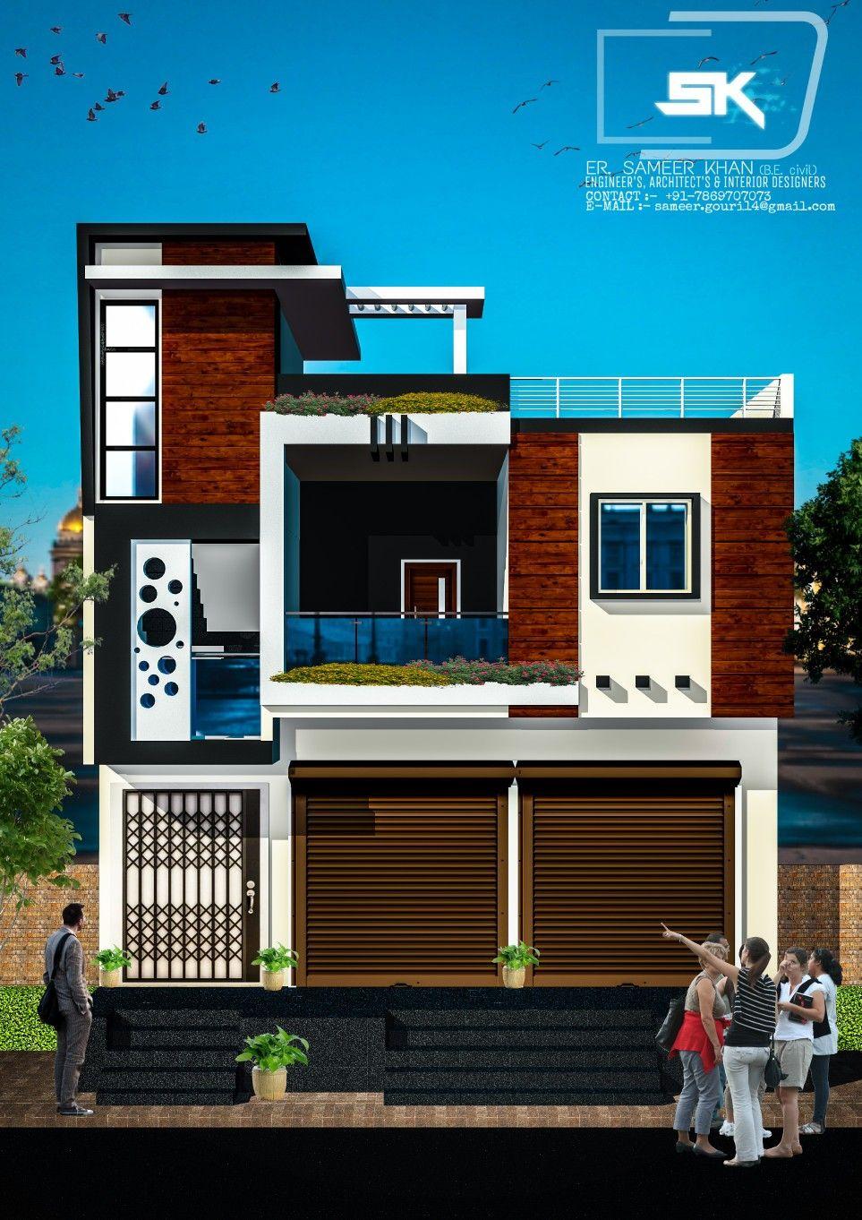 34 Samples Of Modern Houses Most Popular Exterior Design: Introducing Modern House Trending Exterior Elevation With Shop By Er. Sameer Khan #modernhouse