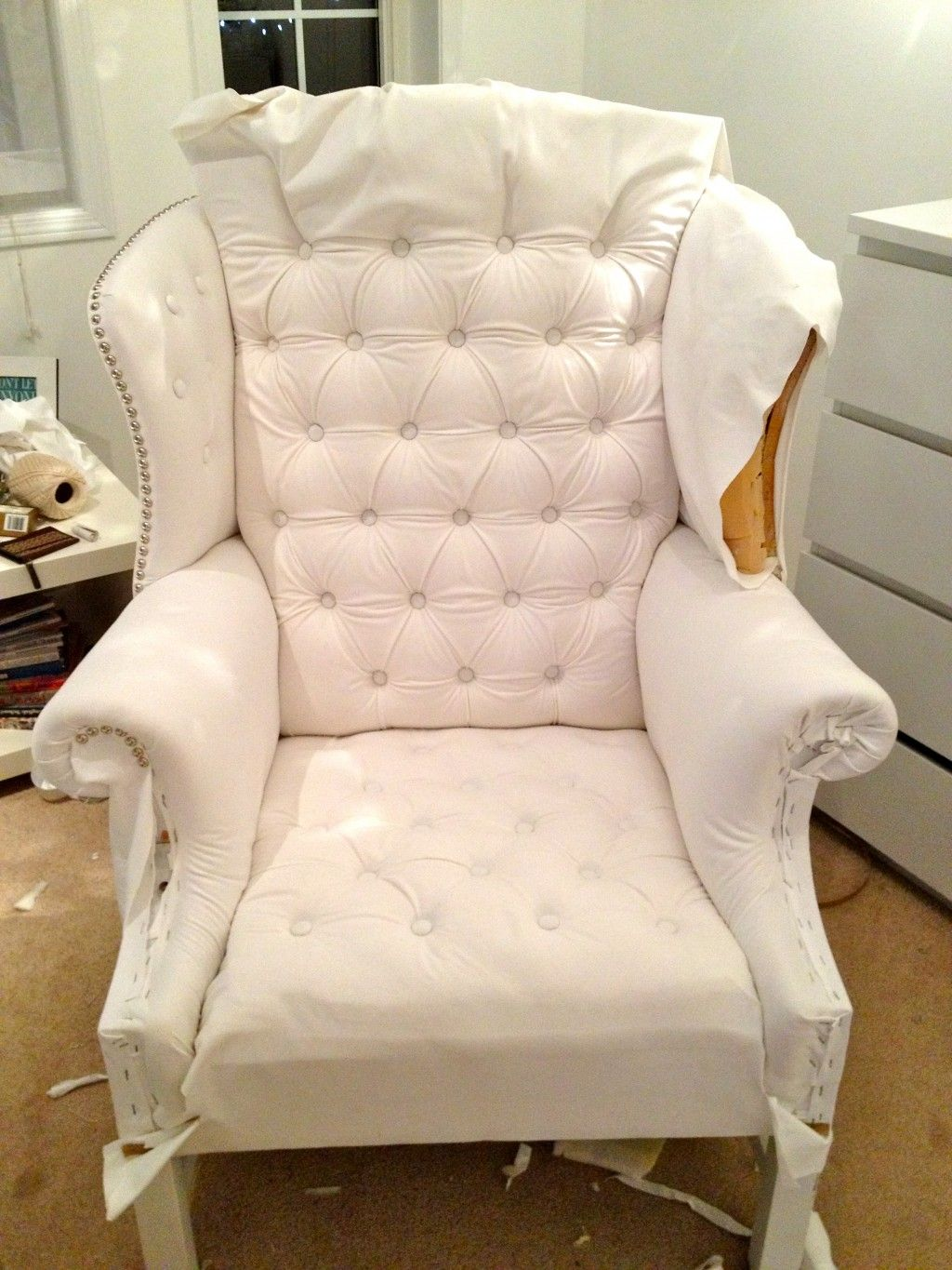 reupholster chair drop cloth and reupholster chair dallas ideas