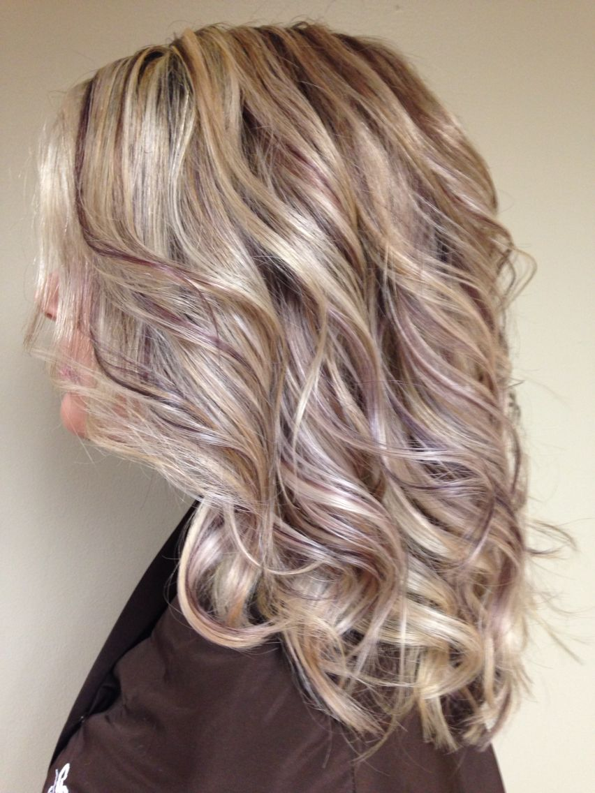 Low Lighted Eggplant Blonde Hair With Highlights Blonde Brown Hair Color Purple Highlights Blonde Hair