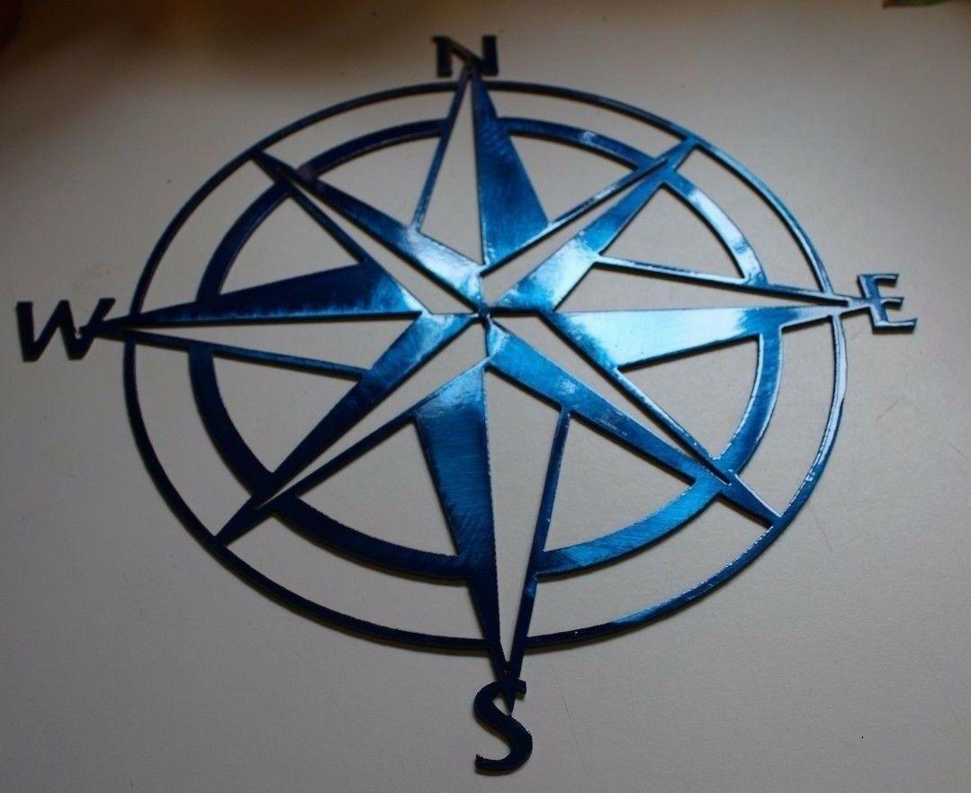 Nautical Compass Rose  Wall Art Decor Metallic Blue Blue Metal