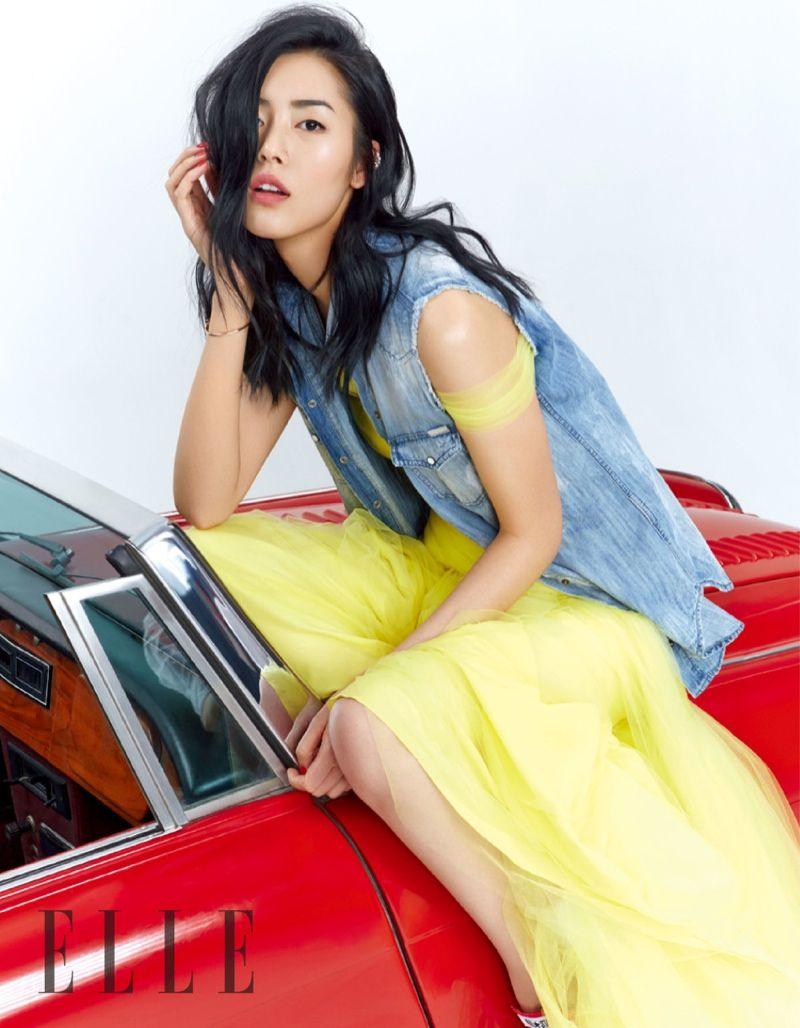 Liu Wen by Zack Zhang for Elle China June 2015 - Diesel denim vest, Ralph Lauren Spring 2015 gown
