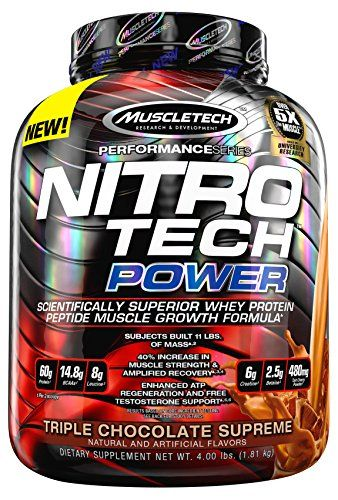 MuscleTech Nitro Tech Power Powder Superior Whey Protein Peptide Muscle Growth Formula Triple Chocolate Supreme 4 lbs 181kg >>> Learn more by visiting the image link.