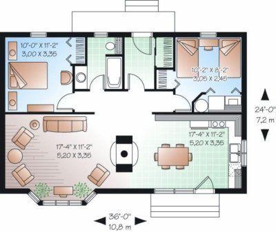 Bungalow de dos dormitorios y 81 metros cuadrados planos for Dormitorio 14 metros cuadrados