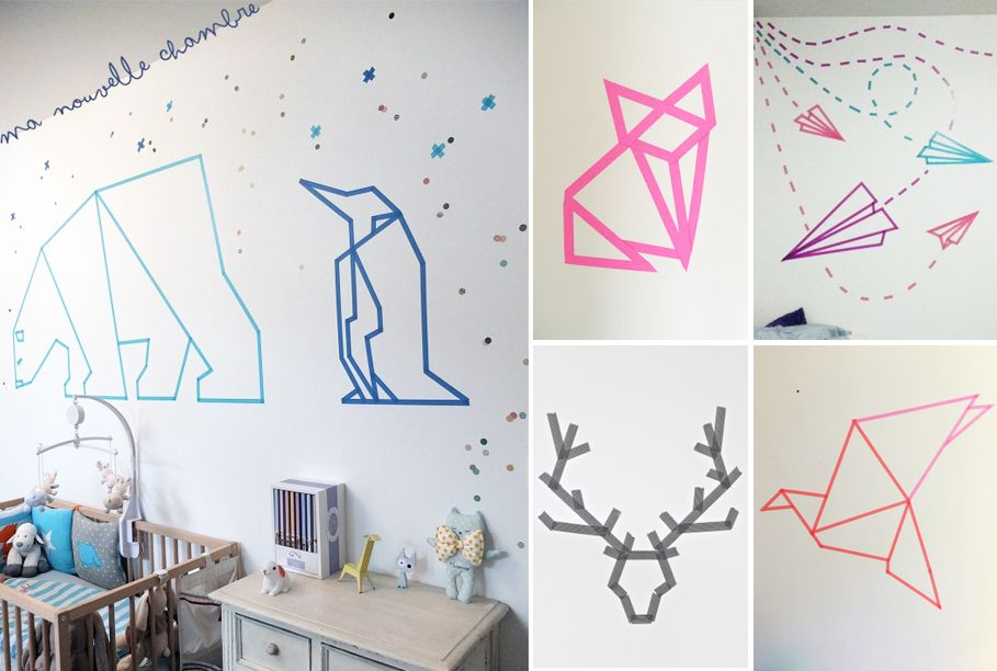 Origami animaux en masking tape pinteres for Decoration murale origami