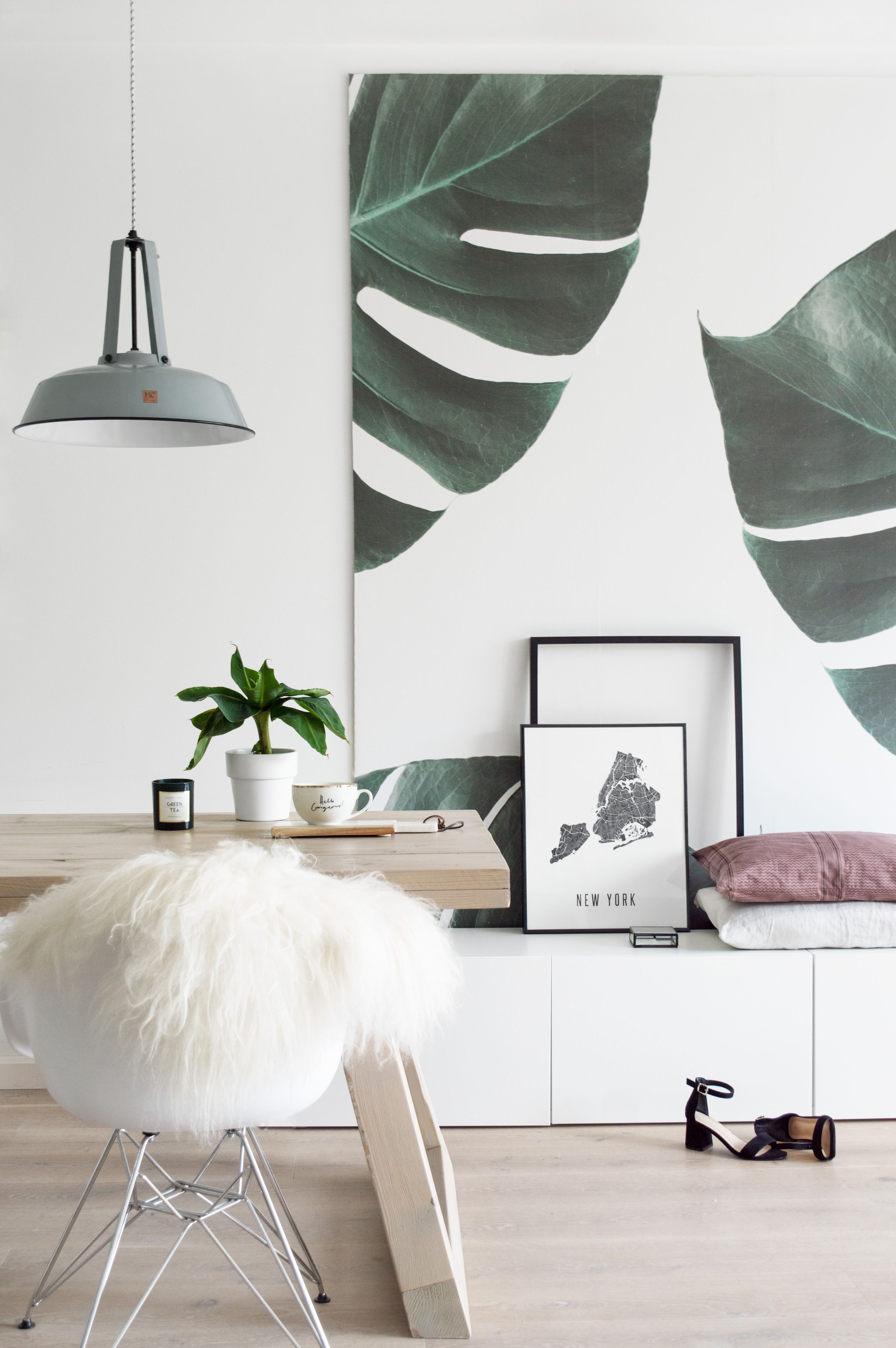 Botanisch behang in woonkamer - Tanja van Hoogdalem | REI - Dining ...