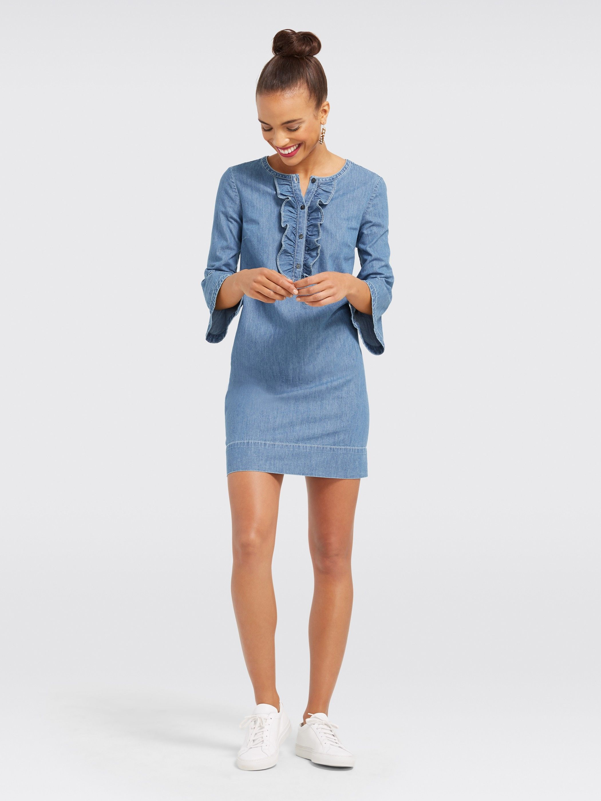 cf6f56c9f0 Chambray Ruffle Shift Dress- Clothing