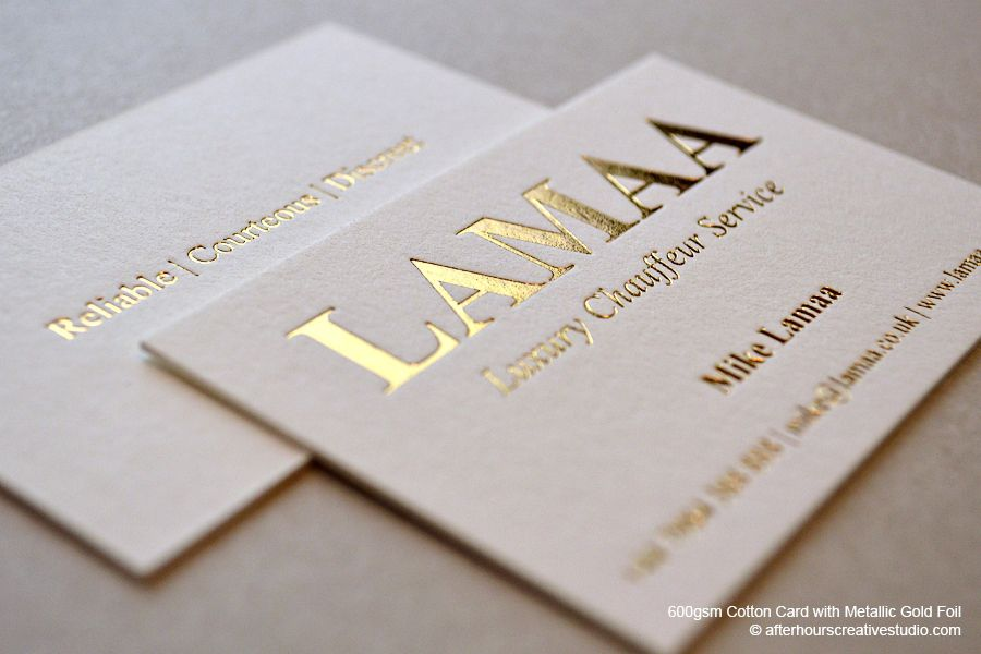 Gold Foil Business Card | Lamaa Luxury Chauffeur Service | Graphic ...