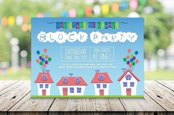 Summer Neighborhood Block Party creativework247 Invitation Cards