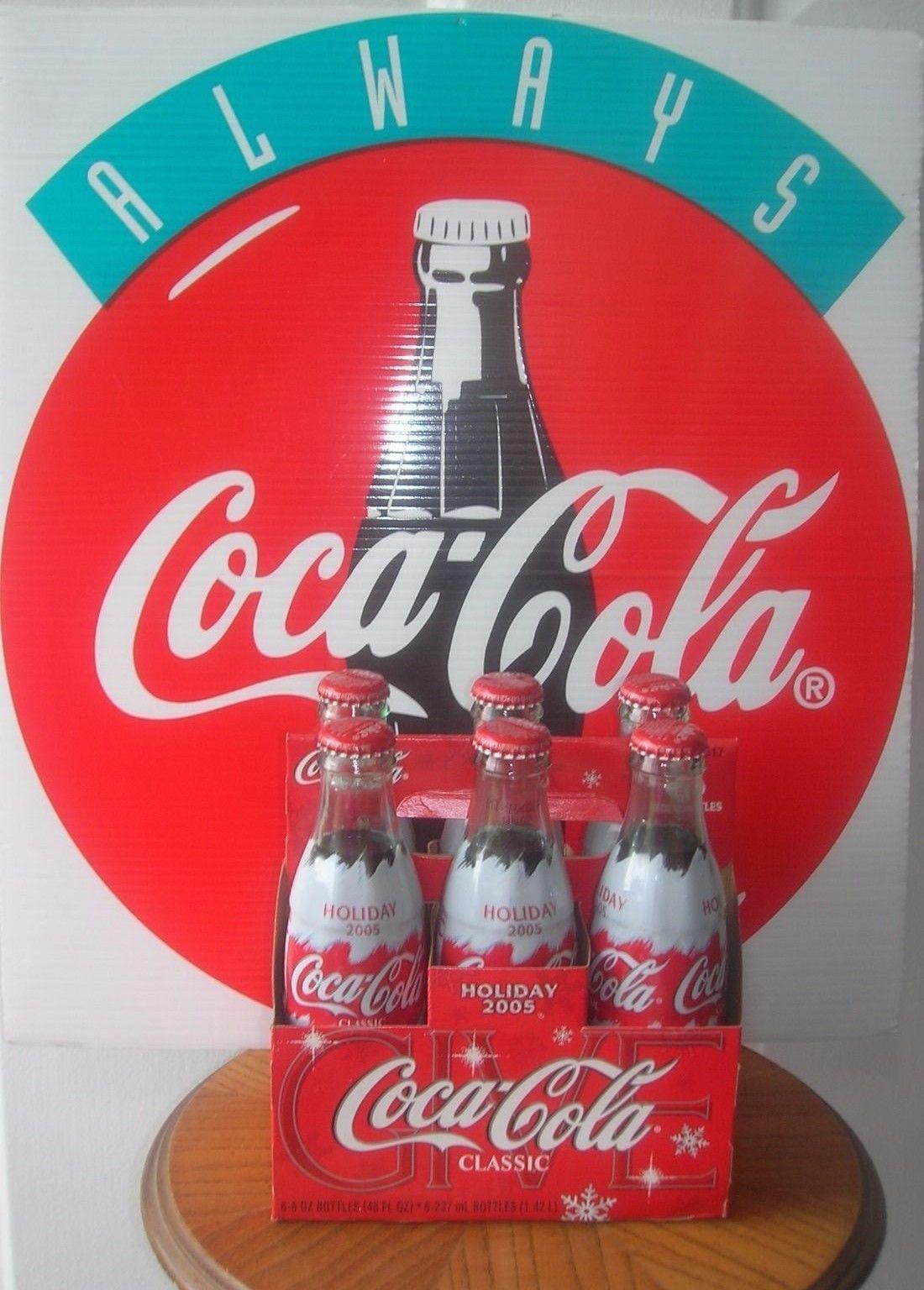 Coca Cola Polar Bear Holiday 2005 Coke 6 Pack Bottles