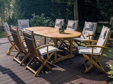 Lot de 2 chaises en bois avec coussin gris-beige MAUI ...