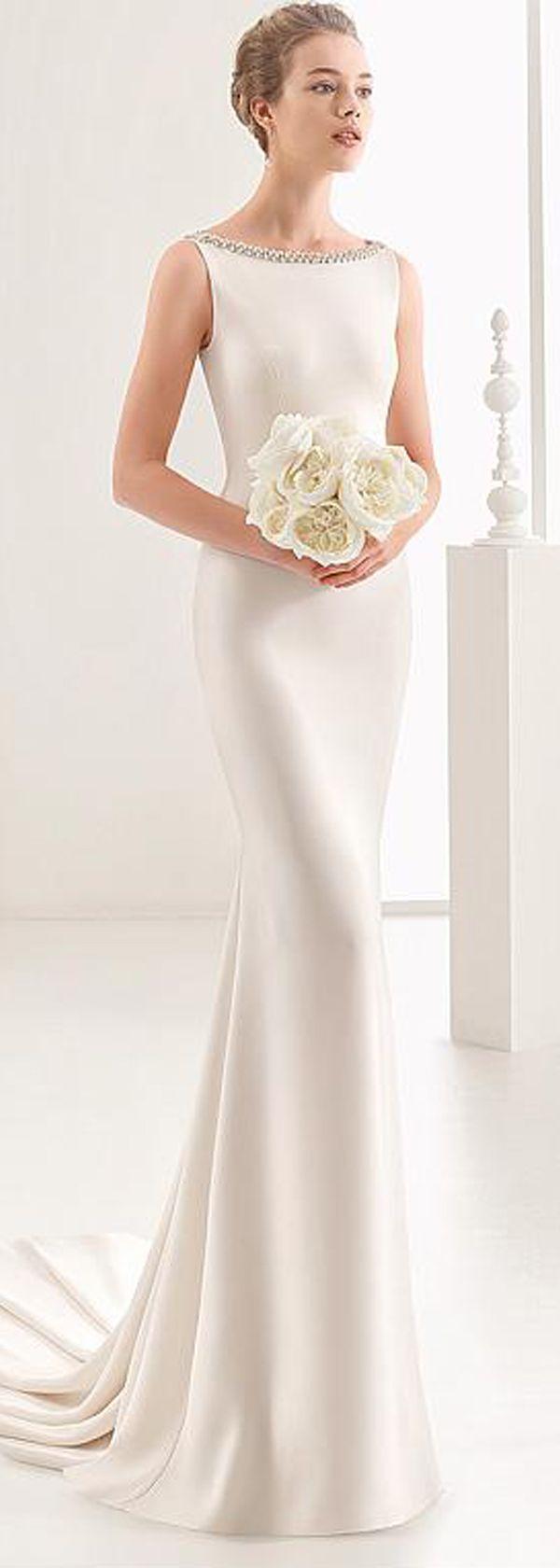 ab87bcc9a0d Brilliant Acetate Satin Bateau Neckline Sheath Column Wedding Dress With Beaded  Embroidery