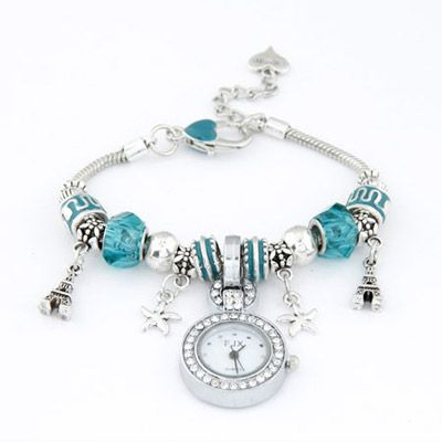 Plated Blue Elements Decorated Simple Design Alloy Ladies Watches :Asujewelry.com