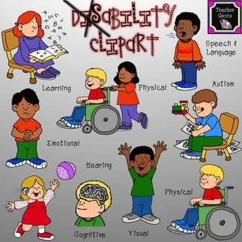 This disability clipart set includes 45 images! There are 9 distinct images of multi-cultural kids with disabilities.