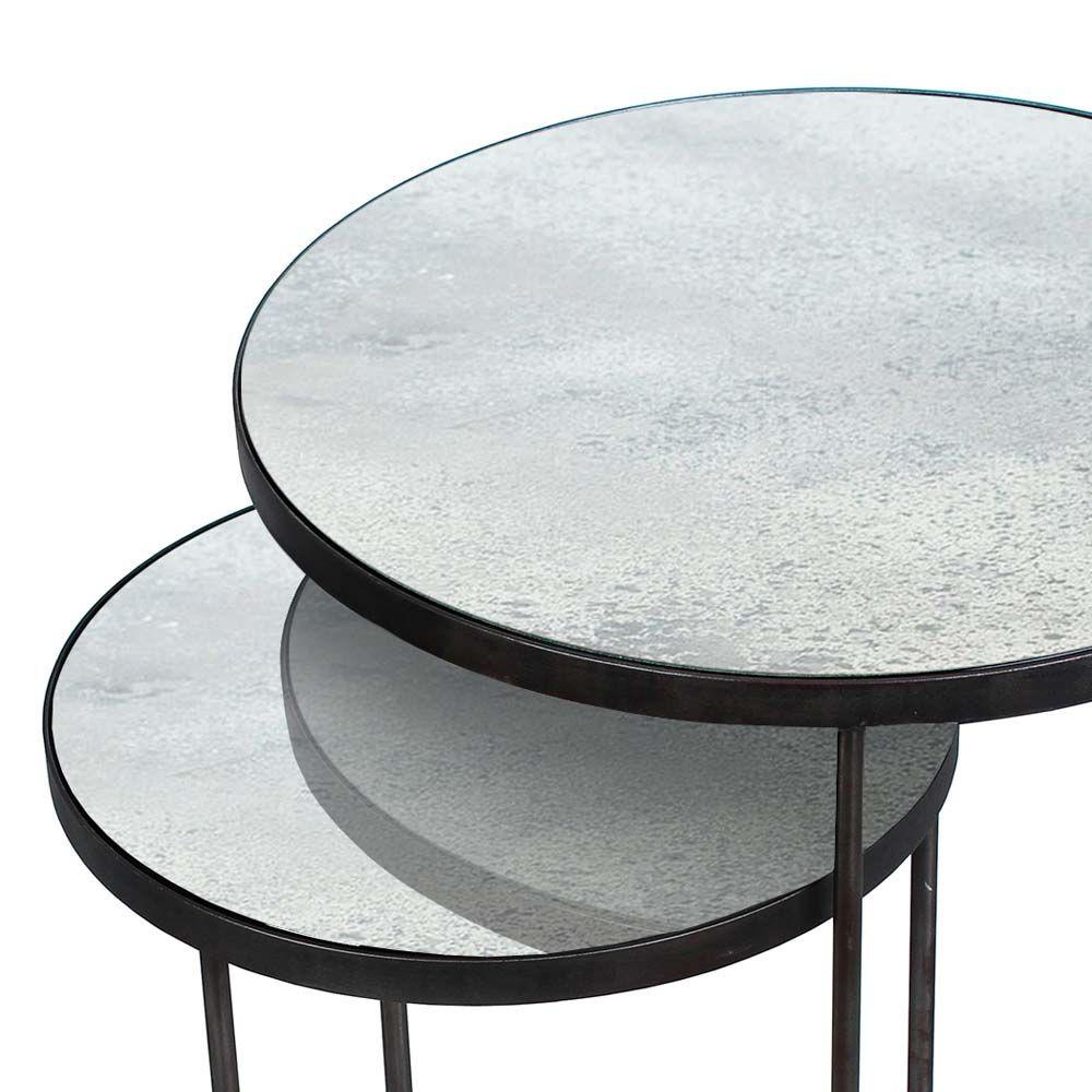Notre Monde Beistelltische Rund Glossy Metall Glas 2er Set Schwarz Grau Mit Bildern Beistelltische Beistelltisch Rund Tisch