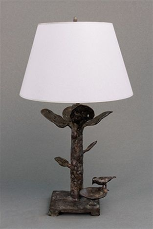 7ac1371d18d special pair of table lamps with leaves and small birdbowl (pair) by diego  giacometti