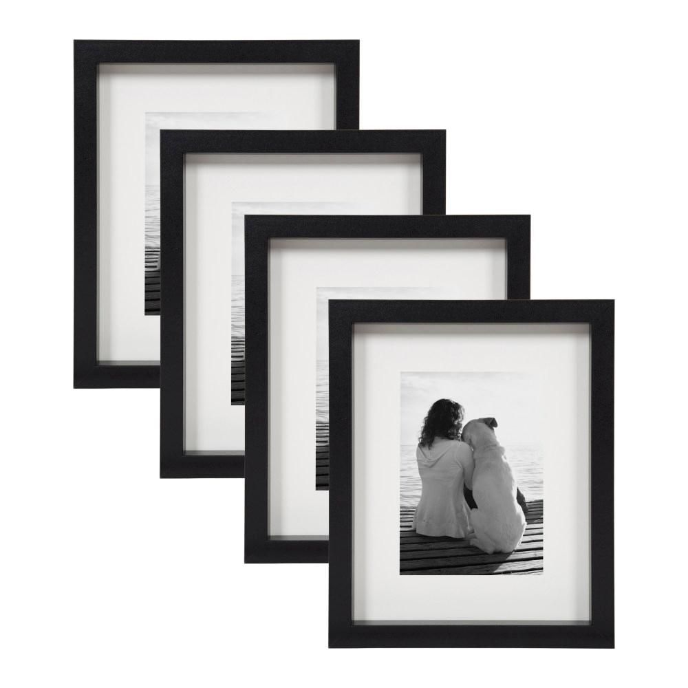 Designovation Macintyre 8 In X 10 In Matted To 5 In X 7 In Black Picture Frame Set Of 4 Picture Frame Sets Traditional Picture Frames Brown Picture Frames