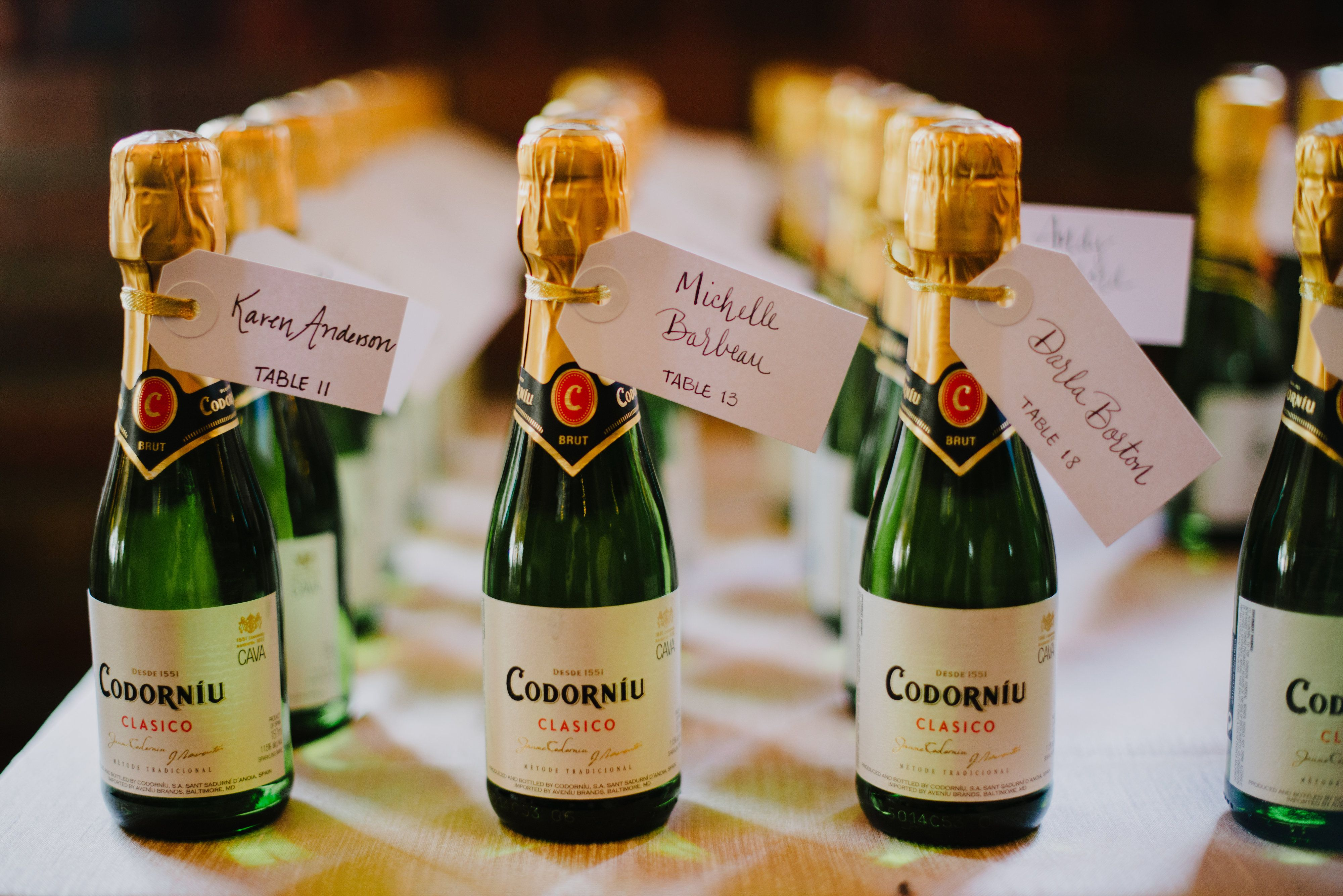 Escort Card Mini Champagne Bottles