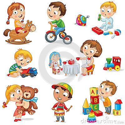 Children Play With Toys Drawings Children Kids Playing Toys