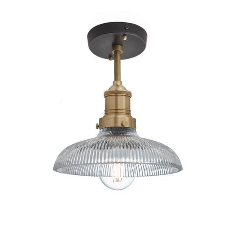 Vintage industrial lighting · brooklyn vintage antique ribbed glass retro dome flush mount 8 inch