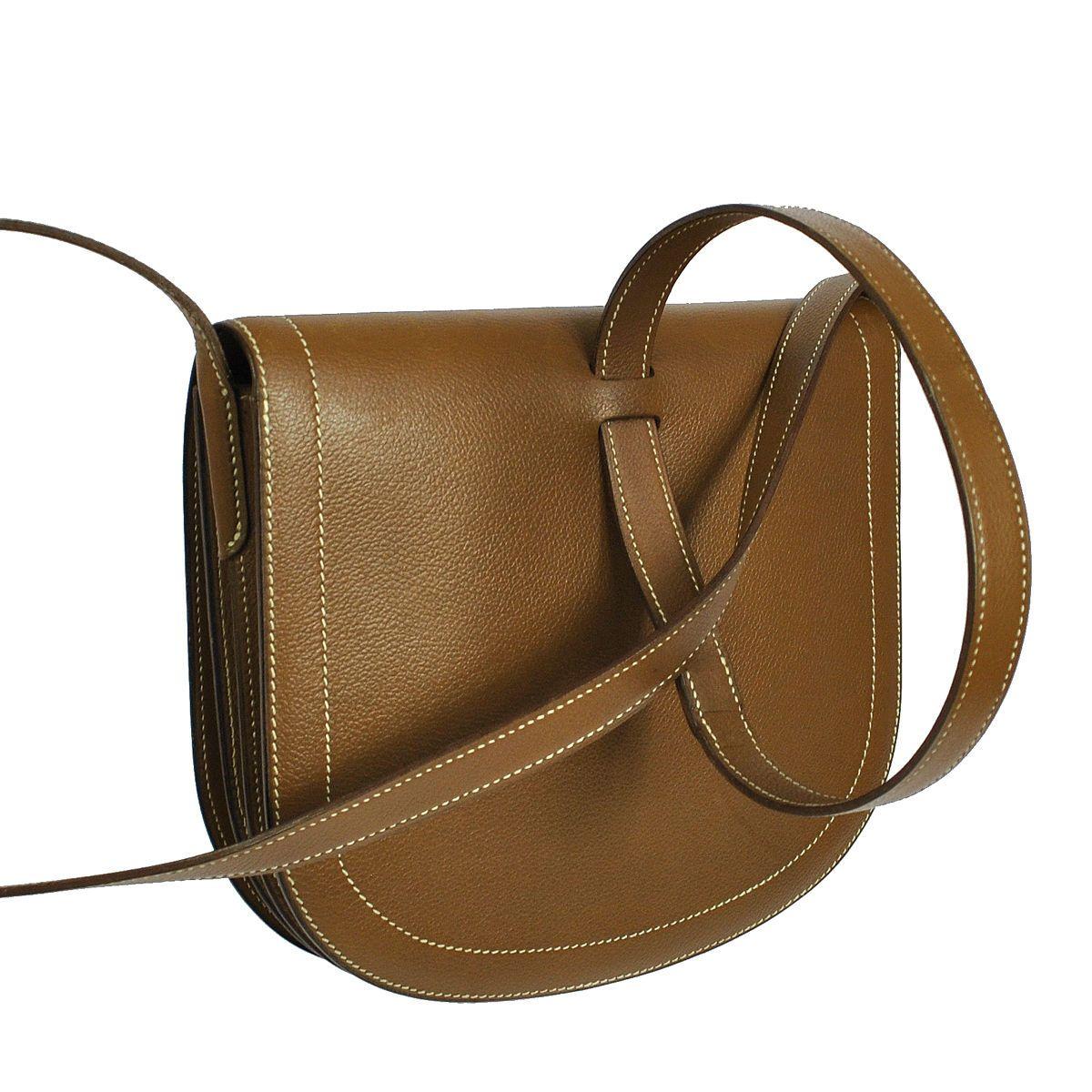Authentic Hermes Vintage Shoulder Bag Brown Leather GHW 1985's S01535   eBay