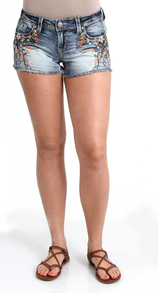 cb64e2bb6ab Grace in LA Jeans Jean Shorts with Floral Embroidery for Women JHW6970