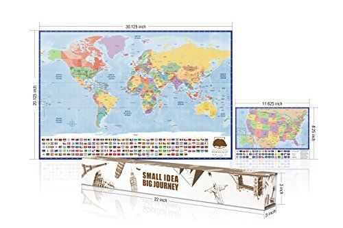 Travelers Scratch World Map And bonus A4 scratchable USA Map