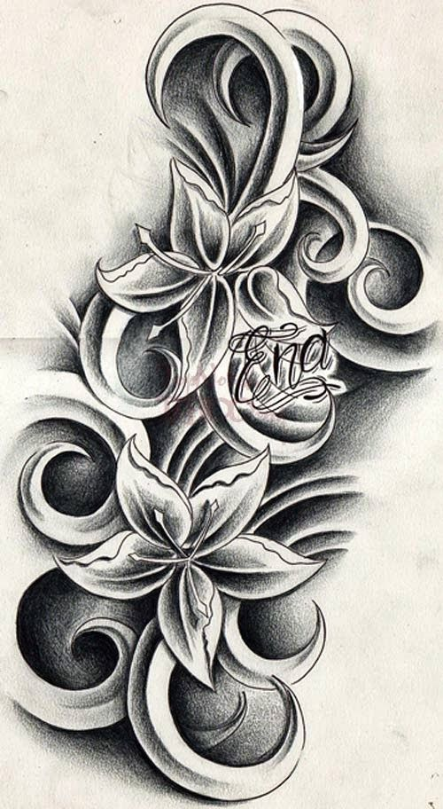 Cattleya Flower Tattoo Black And White 90754 Res 723x962