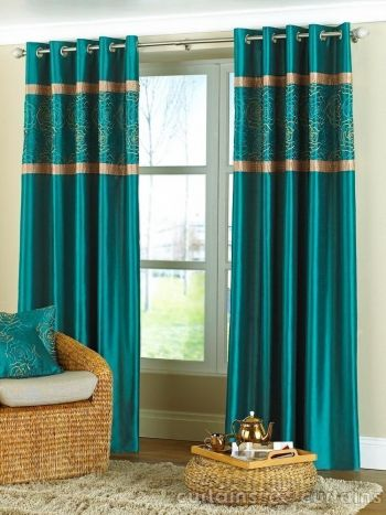 Teal Embellished Faux Silk Eyelet Curtains - Curtains UK | CURTAINS ...
