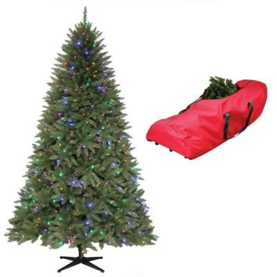 pre lit dual led matthew fir artificial christmas tree with clear and multi colored lights free storage at the home depot