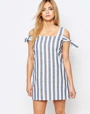 654d4d3c3a7 Boohoo Striped Off The Shoulder Shift Dress
