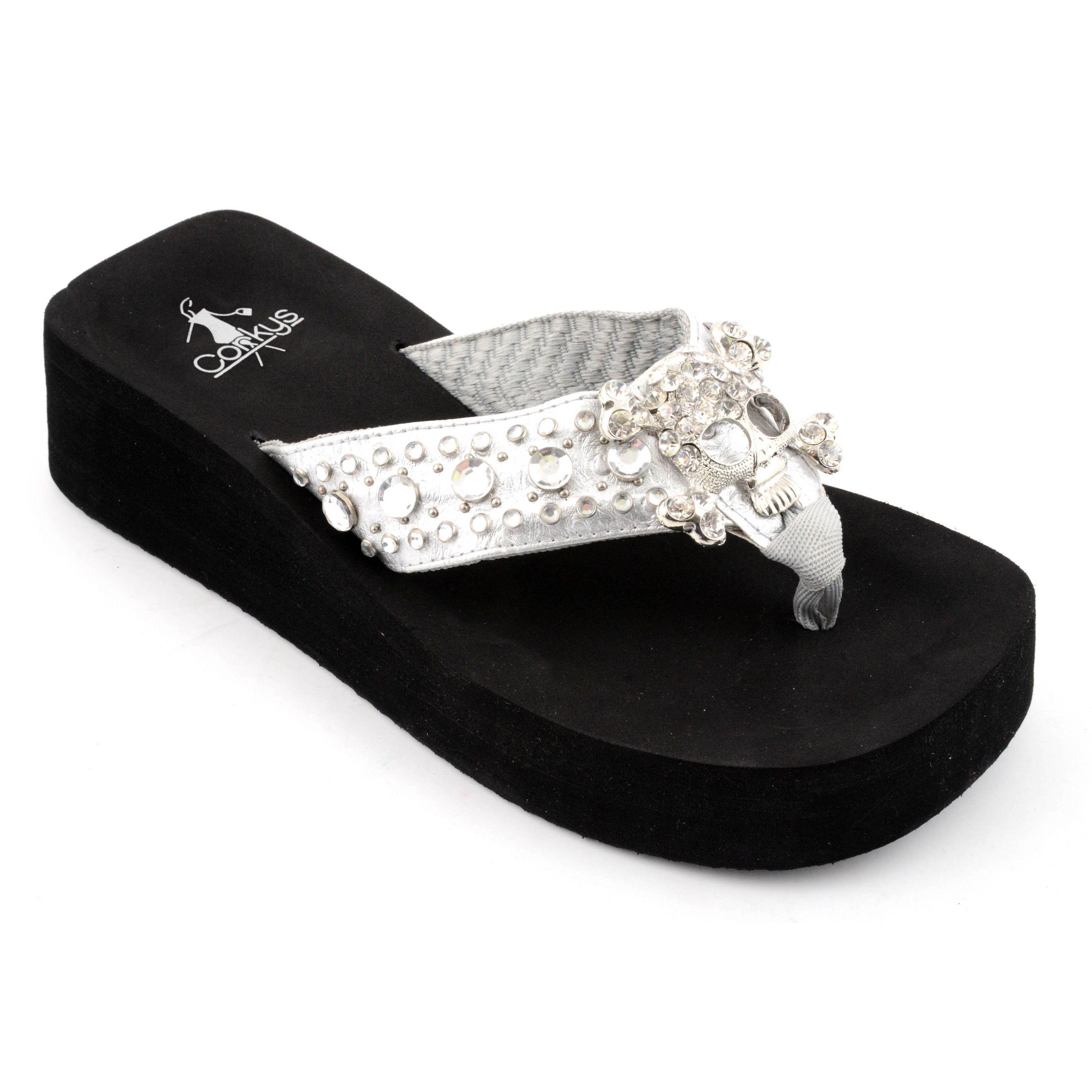 7b9dc64d3d31 Corkys Women s  Cher  Silver Metallic Wedge Sandals
