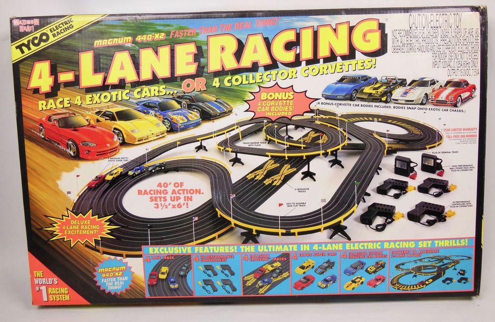 Mattel Tyco 4Lane Racing HO Scale Slot Car Race Track Set