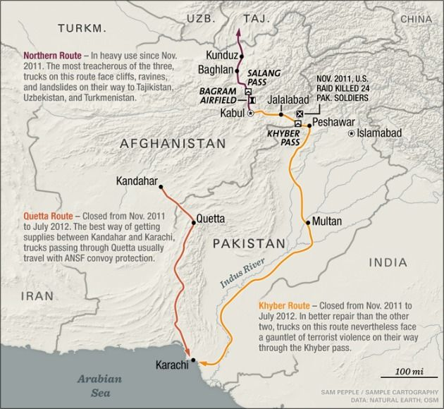 a map of the nato supply routes out of afghanistan foreign affairs a powerful piece military