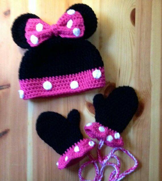 Minnie Mouse beanie & gloves | Häkeln Baby | Pinterest | Häkeln ...