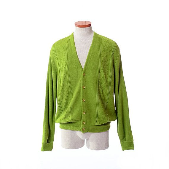 Vintage 60s Mod Lime Green Cardigan Sweater by