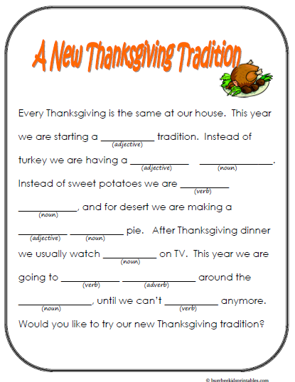 mad libs thanksgiving printable - Google Search | thanksgiving ...