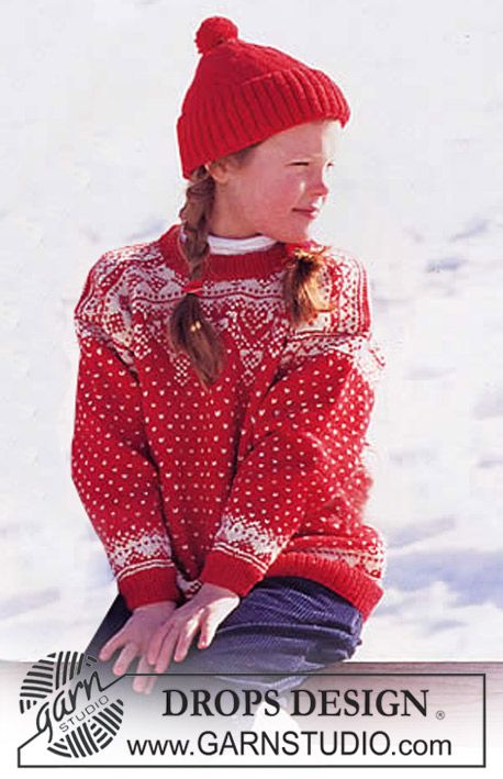 Free Pattern Drops Sweater And Hat In Karisma Superwash With Snow