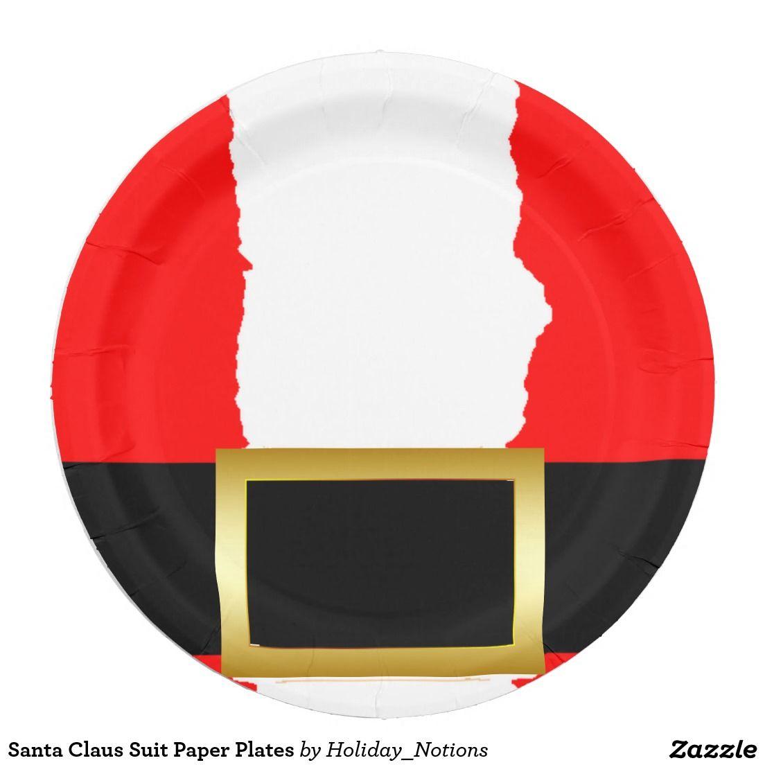 Santa Claus Suit Paper Plates 9 Inch Paper Plate