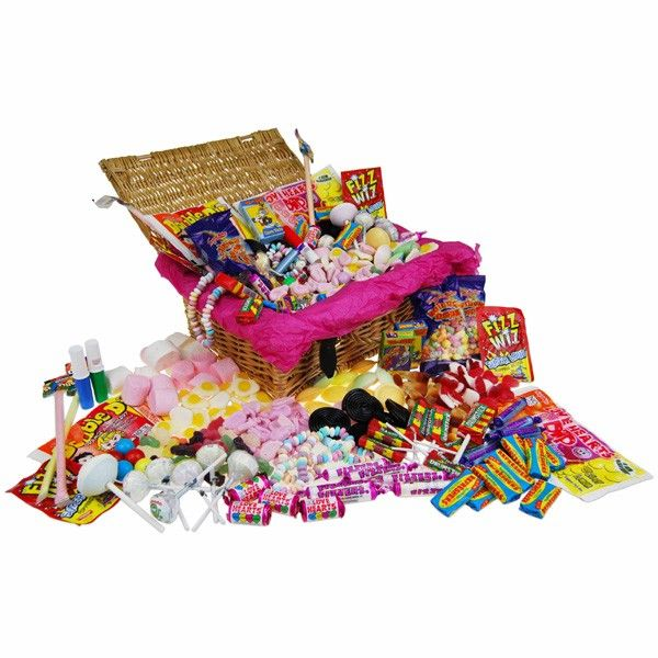 This delightful hamper may be small in measurements but it is bursting at the seams with all of your favourite classic and retro sweets.