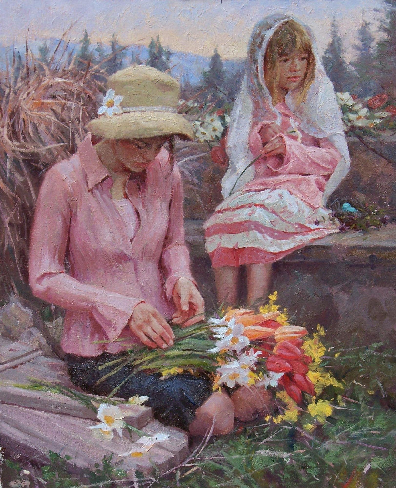 Florist and Daughter by Albin Veselka   (+++)