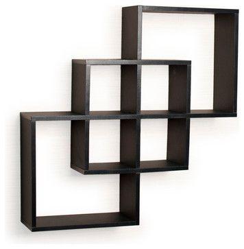Intersecting Squares Decorative Wall Shelf Black Contemporary