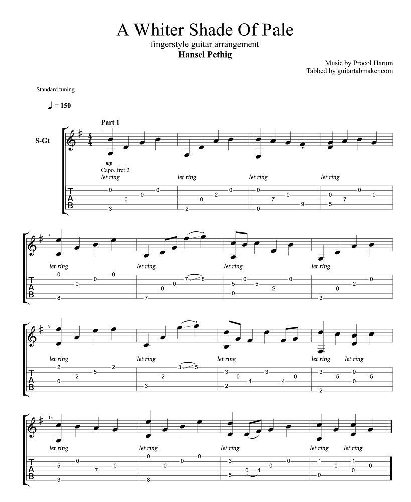 A Whiter Shade Of Pale Fingerstyle Tab Fingerstyle Guitar Cover By