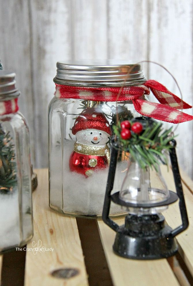 Dollar Store Craft DIY Mason Jar Snow Globes Store supply, Dollar