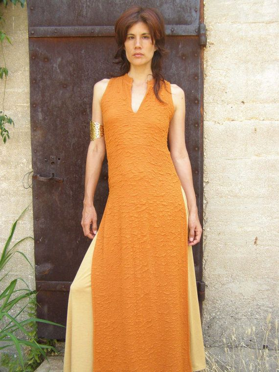 a2c1ce89a7e ASIAN maxi dress  tunic-Womens sleeveless elegant maxi dress-maxi tunic-Made  to order-Summer womens dress in orange -Bridesmaid dress