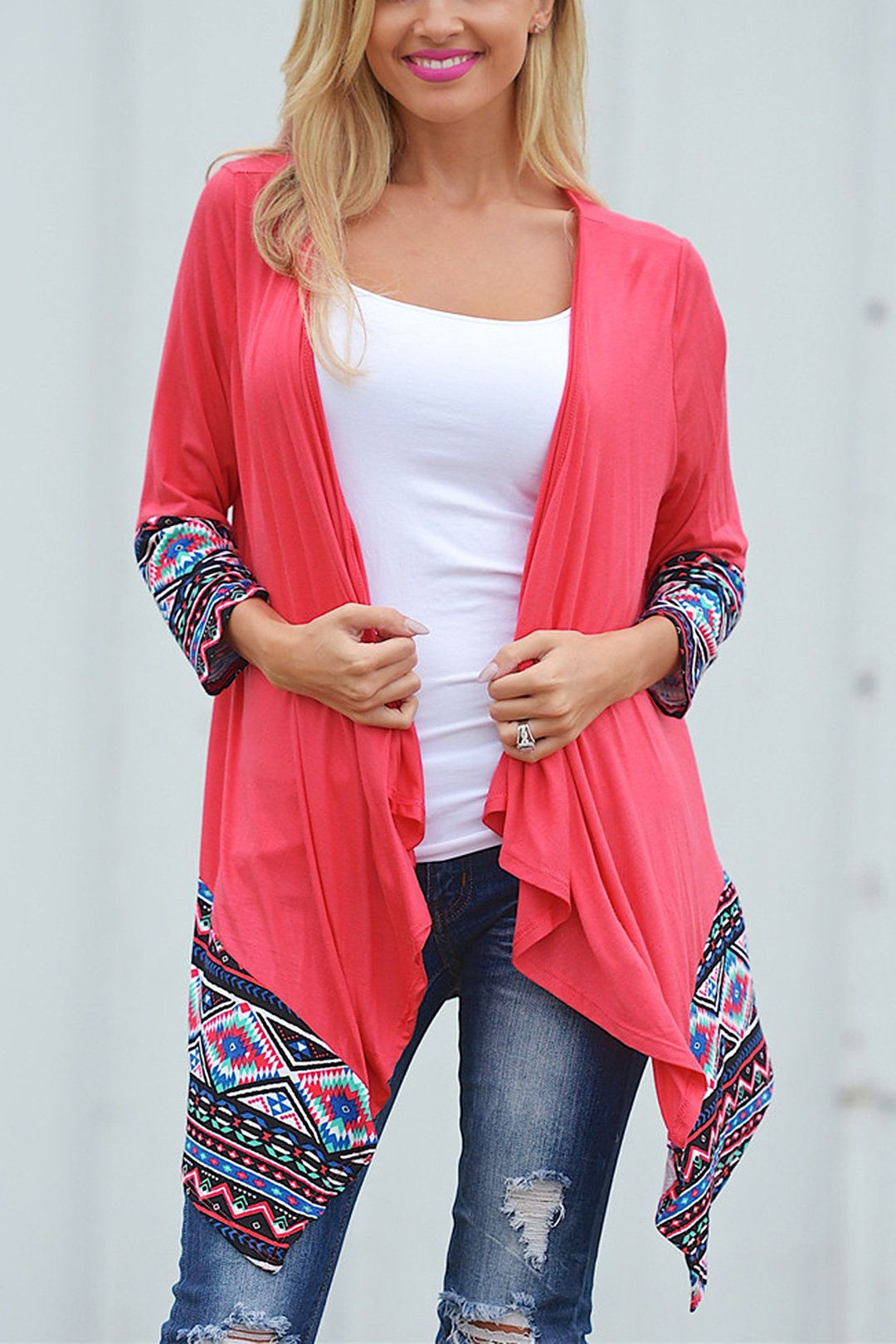 Waterfall Longline Jersey Cardigan With Geo-Tribal Detail | The o ...