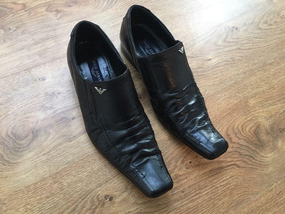 $495 GIORGIO ARMANI black leather shoes