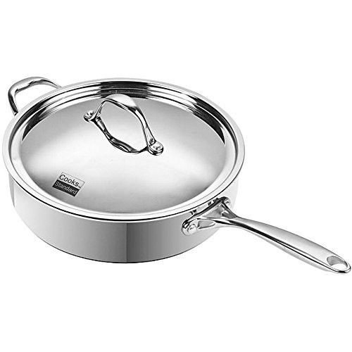 5-quart Multi-ply Clad Stainless Steel Saute Pan by Cooks Standard, 21.3x14x5.2, Silver
