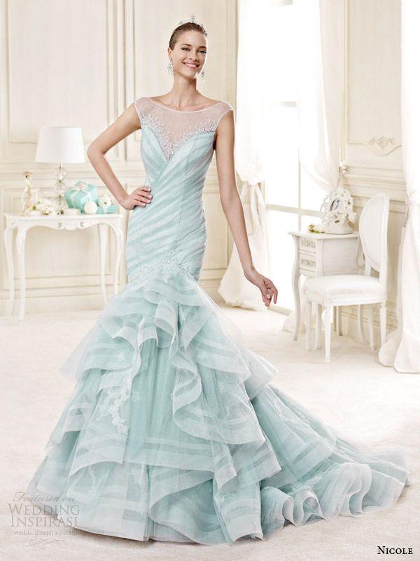 Nicole Spose Bridal 2017 Style 7b Niab15101tf Pale Green Tiffany Blue Color Cap Sleeve Wedding Dress
